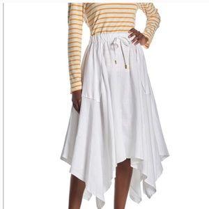 Donna Karan Pull On Handkerchief Hem Linen Skirt